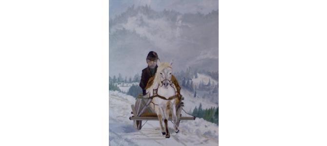Pictura de iarna pe panza in ulei