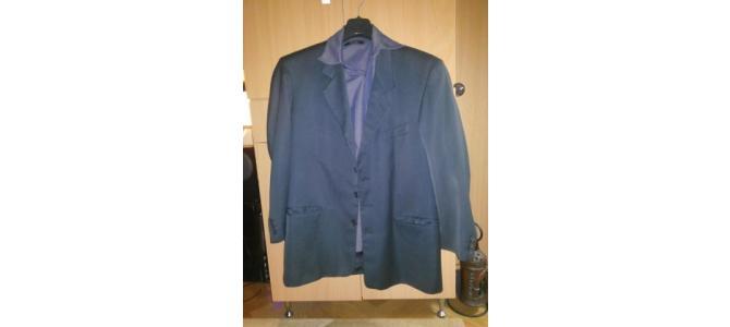 vand Costum Sacou marca Marks & Spencer 50 bleumarin lucios irizat + camasa gratis marca Moto violet