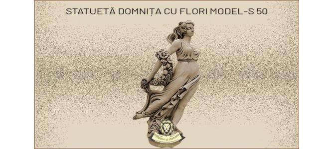 Statueta domnita cu flori din beton model S50.
