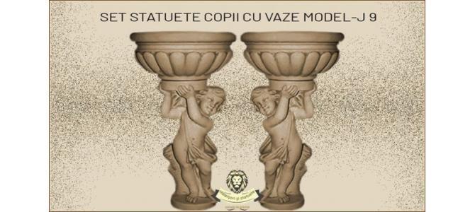 Statuete set copii cu vaze din beton model J9.