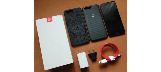 OnePlus 5 Black DualSim 6GB RAM + 64GB ROM & 2 huse