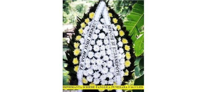 Imprimanta scriere panglici funerare si florale.